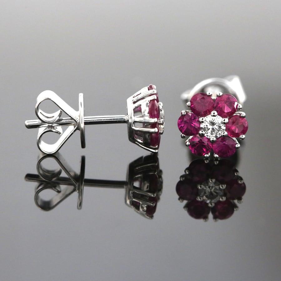 Ruby Cluster Earrings in Adelaide