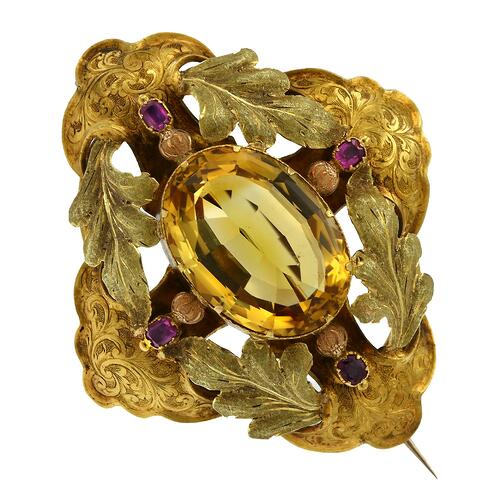 Gerard's Choice Victorian Citrine Brooch Antique Jewellery Adelaide