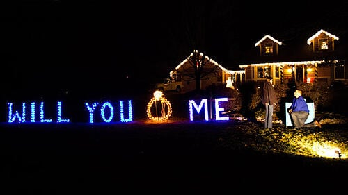 christmas lights ring marriage proposal