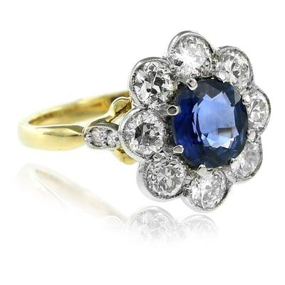 Edwardian Style Sapphire & Diamond Ring -1