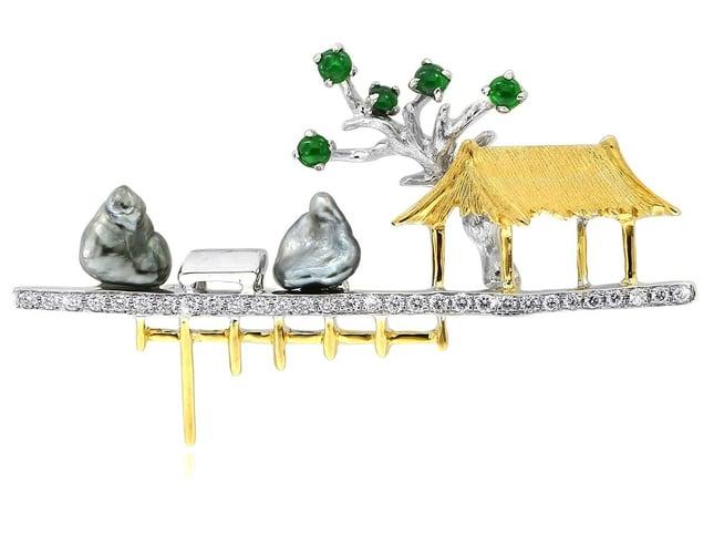GMAC - Pearl, Jade and Diamond Brooch - 1