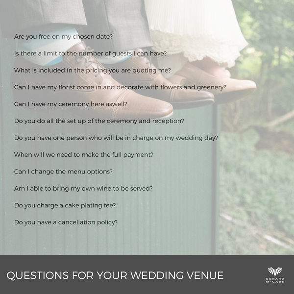 Questions for your Reception Venue