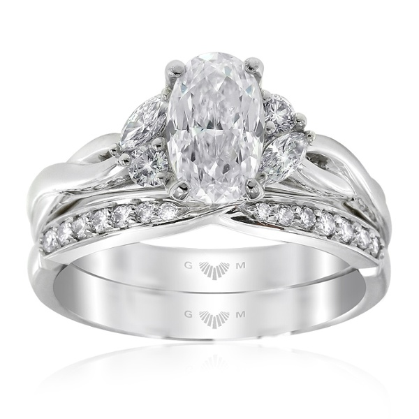 Embrace Oval Cut Diamond Ring with Embrace Wedding Ring