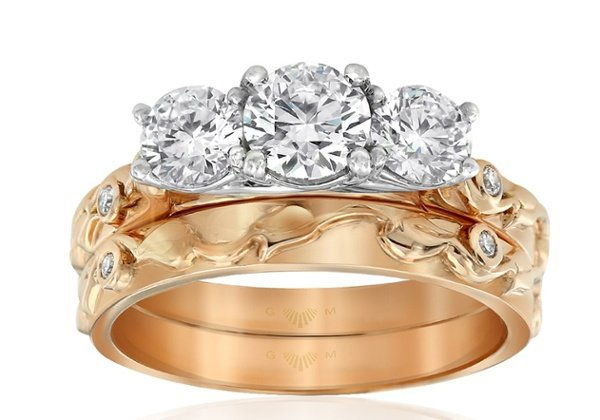 Trinity Rose Rose Gold Engagement Ring and Wedding Ring